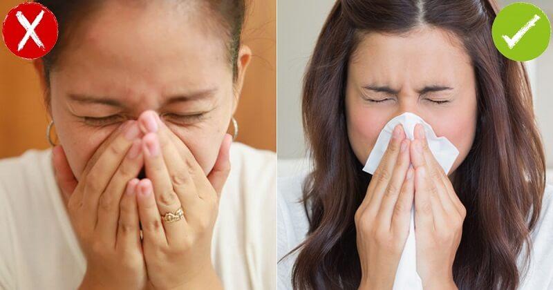 Nên dùng khăn giấy che kín miệng khi ho hoặc hắt xì