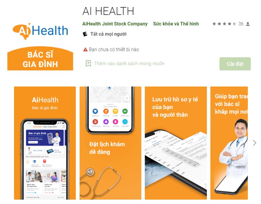 Ứng dụng AiHealth trên điện thoại