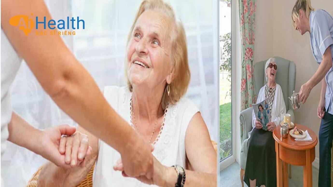 Chăm sóc người già như theo dõi nhiệt độ, huyết áp...