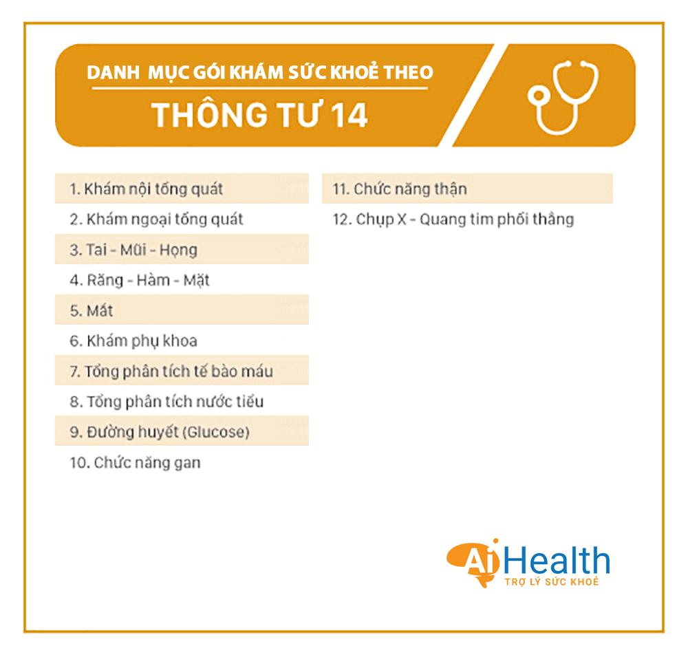 Danh mục gói khám sức khỏe theo thông tư 14