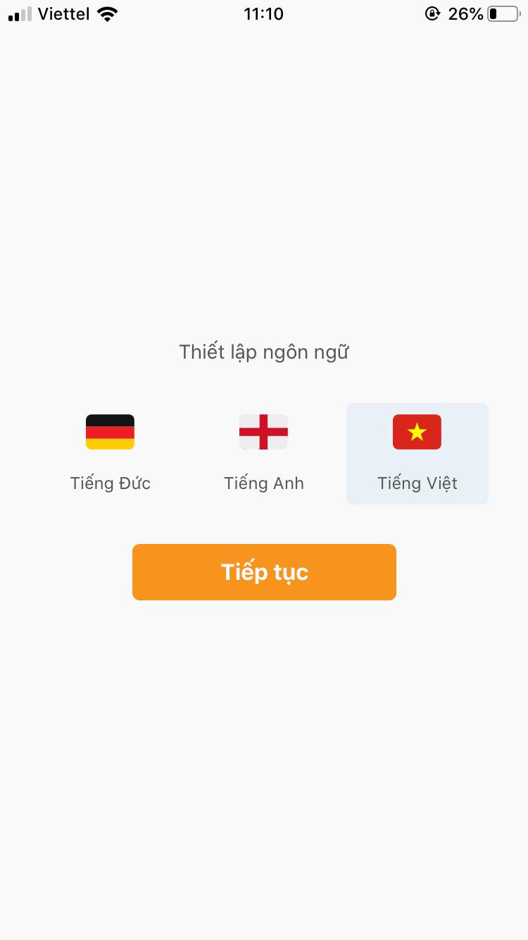 Cài đặt ngôn ngữ sử dụng cho ứng dụng AiHealth